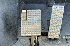 Brake and accelerator pedal for cars. Stock Photos