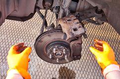 Brake caliper repair stock image