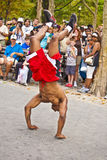 Brake dancer at an open air performance in Battery Park, New York Stock Photography