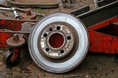 Brake disc. Old brake disc on van for repair Stock Photo