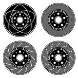 Brake disc black symbols Royalty Free Stock Photos