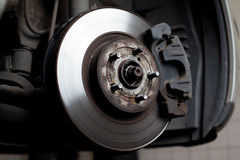 Brake disc and brake pads. Closeup of brake disc mounted on car Stock Image