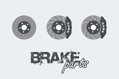 Brake disc with caliper sign simple icon on background vector illustration