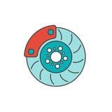 Brake disc flat line icon Royalty Free Stock Photos