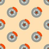 Brake disc pads garage seamless pattern auto car repair service maintenance transportation automotive mechanic vector Stock Images