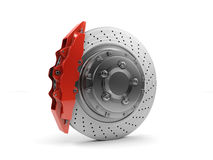 Brake Disc and Red Calliper from a Racing Car Stock Image