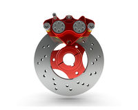 Brake Disc and Red Calliper from a Racing Motorbike isolated on Royalty Free Stock Images