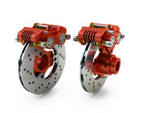 Brake Disc and Red Calliper from a Racing Motorbike isolated on Stock Images