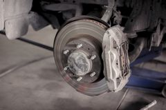 Brake disc system of car. Brake disc system of car without wheel waiting to repair in automotive repair shops stock image