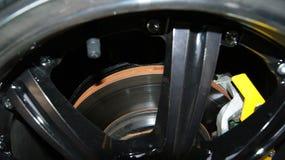Brake disc and wheel. Brake disc brake pads and wheel Royalty Free Stock Photos