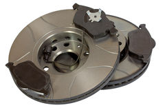 Brake discs and pads Stock Photos