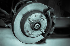 Brake disk and detail of the whee Royalty Free Stock Image