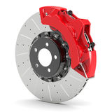 Brake disk with red calipers Royalty Free Stock Photography
