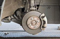 Brake disk and the wheel assembly Stock Photo