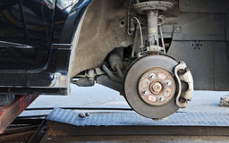 Brake disk and the wheel assembly Royalty Free Stock Photo