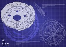 Brake disk and wheel with shock absorber on a blue. Background. 3d model Royalty Free Stock Image