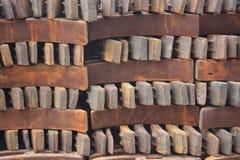 Brake disks. The railway iron materials Stock Photos