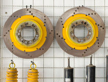 brake disks for car and rusty spare parts Stock Photography