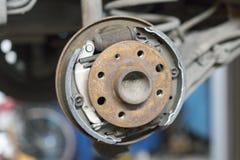 Brake drum in car repair shop Royalty Free Stock Photography