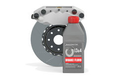 Brake Fluid with Disc Brake, 3D rendering Stock Images