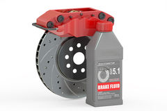 Brake Fluid with Disc Brake, 3D rendering Stock Image