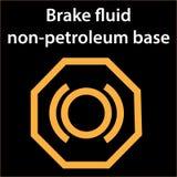 Brake fluid non petroleum base icon - illustration dashboard sign - orange - instrument cluster dtc code error - obd stock illustration