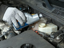 Brake fluid topping up. Auto mechanic topping up brake fluid in the vehicle Royalty Free Stock Photography