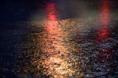 Rainy Night 822. Brake lights on a dark, moody, rainy night stock photo