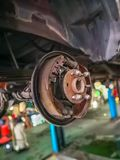 Brake line repair. On car lift in service garage royalty free stock images