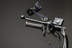 brake master cylinder on motorcycle handlebar. royalty free stock image