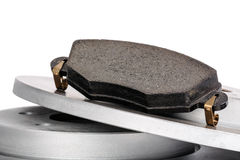 Brake pad and brake discs. New brake pad and brake discs into the brake system for a modern passenger car shown close up Royalty Free Stock Images