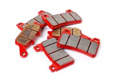 Brake pad. Close up. Isolated on a white background.  Royalty Free Stock Image