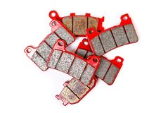 Brake pad. Close up. Isolated on a white background.  Royalty Free Stock Photos