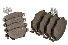 Brake pad set with screws. New brake pad set designed to install on the front and rear axle Royalty Free Stock Photography