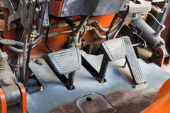 The brake pads and accelerator in forklift. Royalty Free Stock Photos