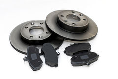 Brake pads and brake discs Royalty Free Stock Photo