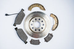 Brake pads for car on white background Stock Photos