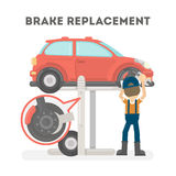 Brake replacement on white. Brake replacement on white background. Car service Royalty Free Stock Image