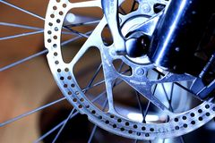 Brake rotor of front wheel. Mountain bicycle stock image