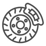 Brake shoe line icon. Disk brake vector illustration isolated on white. Auto disk brake outline style design, designed. For web and app. Eps 10 vector illustration