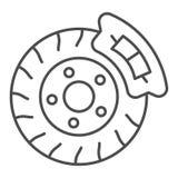 Brake shoe thin line icon. Disk brake vector illustration isolated on white. Auto disk brake outline style design. Designed for web and app. Eps 10 royalty free illustration