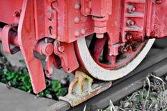 Brake system mechanism on a steam train Stock Photos