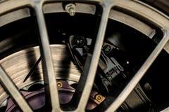 Sports car brake system. Brake system of a sports car close-up royalty free stock photos