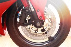The brake system of a sports motorcycle.  royalty free stock images