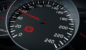 Brake system warning light in car dashboard. 3D rendered illustration Royalty Free Stock Photo