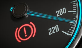 Brake system warning light in car dashboard. 3D rendered illustration.  Royalty Free Stock Photography