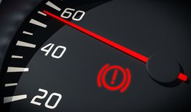 Brake system warning light in car dashboard. 3D rendered illustration. Close up view Stock Photo