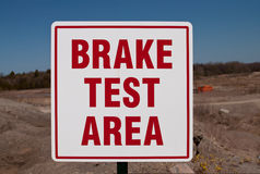 Brake Test Area Sign Stock Images
