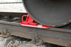 Brake wheel on railway of train Royalty Free Stock Photography