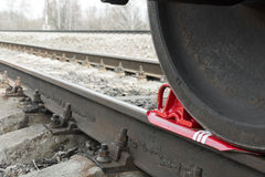 Brake wheel on railway of train Stock Photography